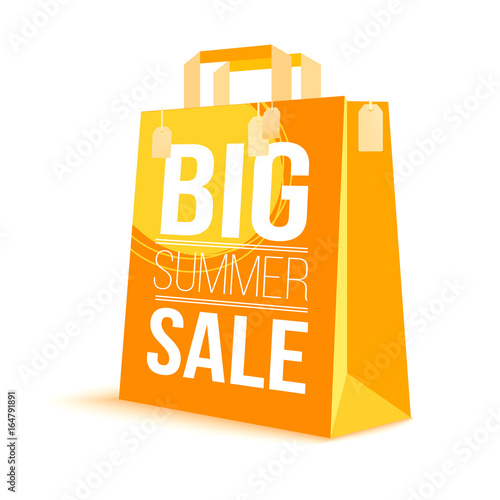 color paper shopping bag with ad text big summer sale and picture