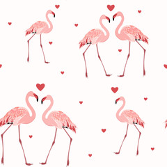 Photo on textile frame Flamingo Pink flamingos and red hearts seamless pattern texture on white background. Love passion affection valentine day theme. Vector design illustration.