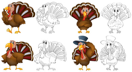 Doodle character for wild turkeys