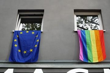 European and rainbow flags