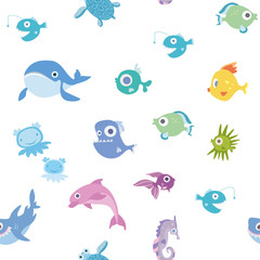 Cartoon sea animals, seamless pattern. Whale, shark, dolphin and other marine fish and animals. Vector background illustration.