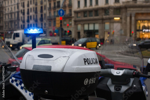 Spanish police car standing in the yard, Upper part with