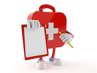 First aid kit character with blank clipboard