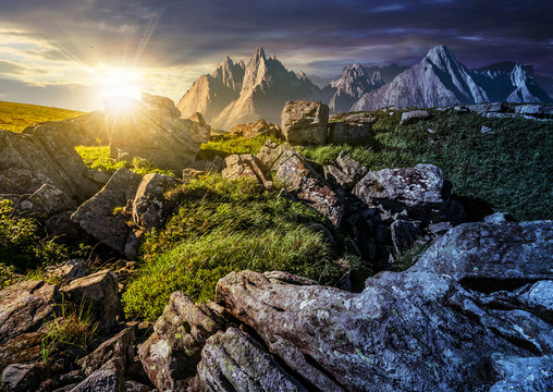 time change concept. rocky peaks and rocks on hillside in High Tatras