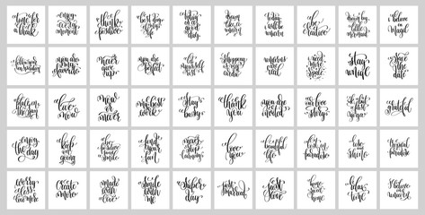 set of 50 hand lettering posters, motivational and inspirational