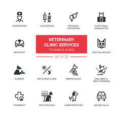 Veterinary clinic services - Modern simple icons, pictograms set
