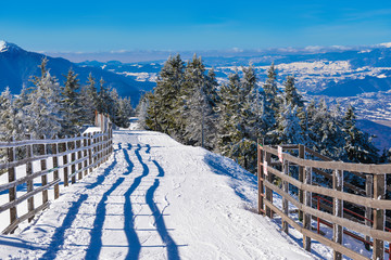 Beautiful panorama over the ski slope on mountain, in Poiana Brasov resort, Romania