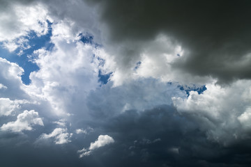 Dark clouds before rain storm. Natural background
