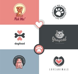 Pet shop logo designs collection with lots of cute animal characters. Perfect symbols set for pet lovers. Pet logo.