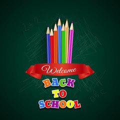 Welcome back to school card design vector eps 10