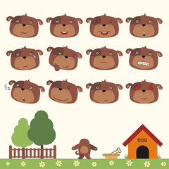 Emoticons set face of puppy dog in cartoon style. Collection isolated heads of puppy dog in different emotion and his body on meadow with trees.