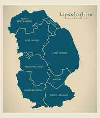 Modern Map - Lincolnshire county with detailed captions UK illustration