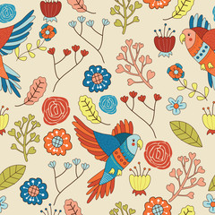 Seamless Bird Floral Pattern Vector Illustration