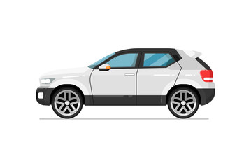 Modern suv car icon. Comfortable auto vehicle, side view people city transport isolated vector illustration on white background.