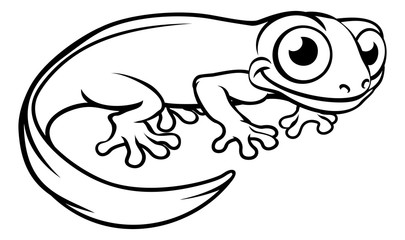 Newt or Salamander Cartoon Character