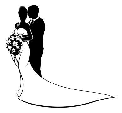 Bride and Groom Husband Wife Wedding Silhouette