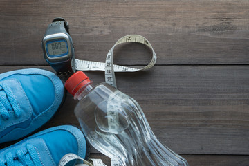 sport eqipment and water bottle