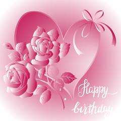 Happy Birthday lettering and bouquet of roses on purple background