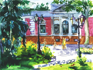 Vector watercolor landscape of Odessa, Ukraine, scenery town on watercolor paper texture background.