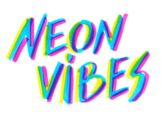 """Big calligraphic hand written words """"neon vibes"""" painted in neon blue, yellow and pink highlighter ink pen on clean white background"""
