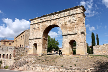 The ancient Roman arch gate of Medinaceli, in Castile and Leon, Spain