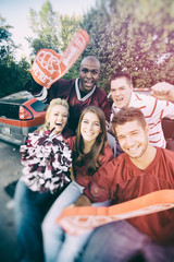 Tailgating: Modern College Students Yelling For Football Team