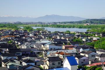 Aerial view of Sakata City in Tohoku, Japan