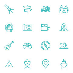 Set Of 16 Picnic Outline Icons Set.Collection Of Place Pointer, Gps, Mountains And Other Elements.