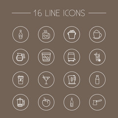 Set Of 16 Beverages Outline Icons Set.Collection Of Wine Cask, Champagne, Whiskey And Other Elements.