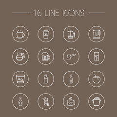 Set Of 16 Beverages Outline Icons Set.Collection Of Ice Bucket, Bottle, Champagne And Other Elements.