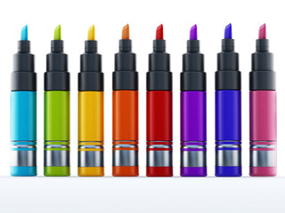 Multi colored marker pen isolated on white background. 3D illustration