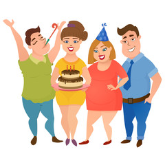Happy fat men and women friend party