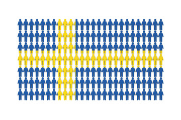 Sweden population concept. group of stick figure people with national flag overlay. 3D Rendering