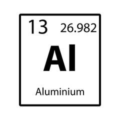 Aluminium periodic table element icon on white background vector
