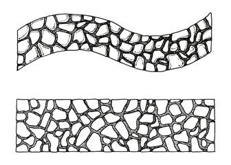 Garden path stone texture hand drawing. vector illustration