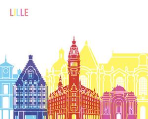 Wall Mural - Lille skyline pop