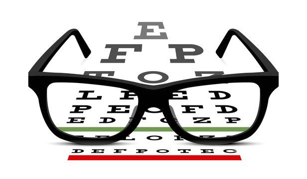 eye glasses and eye chart on white background