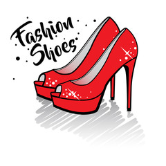 Fashion high heel shoes isolated vector illustration.