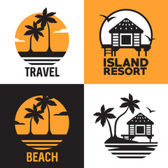 Set of logotypes with bungalow, palmes, sea and sun. Flat vector image.