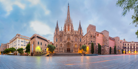 Foto op Canvas Barcelona Panorama of Cathedral of the Holy Cross and Saint Eulalia during morning blue hour, Barri Gothic Quarter in Barcelona, Catalonia, Spain