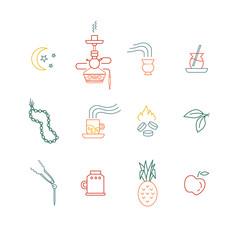 Hookah line icons
