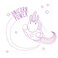 Hand drawn vector illustration of a cute unicorn flying among the stars, super hero style, with text Unicorn power.