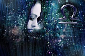 Woman and zodiac sign Libra