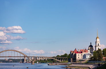 The view of the bridge and the Museum of the town Rybinsk. Russia