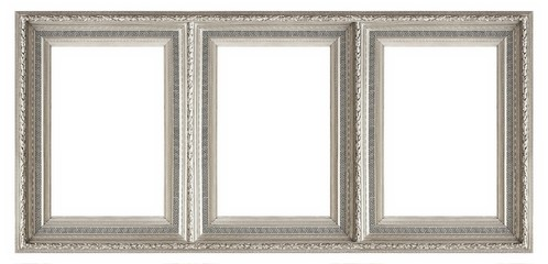 Silver frame of three parts (triptych) on a white background for paintings, mirrors or photos