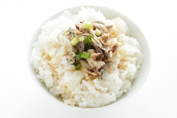 Japanese food, grilled mackerel flake and soy sauce on rice