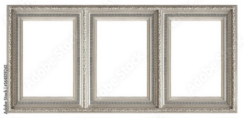 Silver frame of three parts (triptych) on a white background for ...