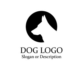 Dog Wolf Logos minimalist black Icon - Isolated Illustration