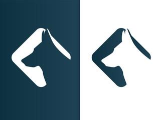 Dog Wolf Logos minimalist black Icon - Isolated Illustration