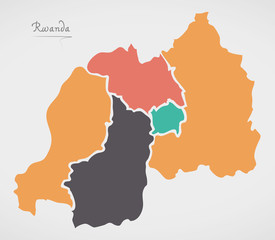 Rwanda Map with states and modern round shapes